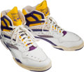 Basketball Collectibles:Others, Circa 1988 Karl Malone Game Worn Shoes - From Family of Sandy Grossman....