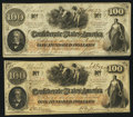 Confederate Notes:1862 Issues, T41 $100 1862, Two Examples.. ... (Total: 2 notes)
