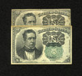 Fractional Currency:Fifth Issue, Fr. 1264 10c Fifth Issue AU. Fr. 1266 10c Fifth Issue VF.. The topedge of the Green Seal Meredith reveals a strip of ag... (Total: 2notes)
