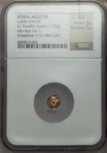 Ancients:Greek, Ancients: IONIA. Miletus. Ca. 600-550 BC. EL 1/12th stater orhemihecte (7mm, 1.25 gm)....