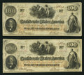 Confederate Notes:1862 Issues, T41 $100 1862 PF-11; PF-22 Cr. 319A; Cr. 320A.. ... (Total: 2notes)