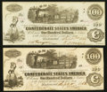 Confederate Notes:1862 Issues, T40 $100 1862 PF-1; PF-2 Cr. 298; Cr. 307.. ... (Total: 2 notes)