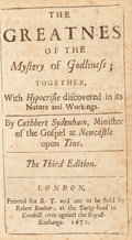 Books:Religion & Theology, Cuthbert Sydenham. [Mearne Binding for Charles II.] TheGreatness Of The Mystery of Godliness; Together, WithHypocrisie...