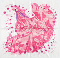 "Luxury Accessories:Accessories, Hermes 90cm Pink, White & Red ""Hola Flamenca,"" by DimitriRybaltchenko Silk Scarf. Very Good to Excellent Condition.3..."