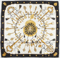 "Luxury Accessories:Accessories, Hermes 90cm Black, White & Gold "" Les Clefs"" by Cathy LathamSilk Scarf. Excellent to Pristine Condition. 36"" Width x..."