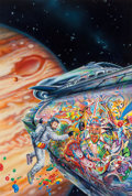 Pulp, Pulp-like, Digests, and Paperback Art, Ron Walotsky (American, b. 1943). Cortez on Jupiter, paperbackcover, 1990. Acrylic with airbrush on board. 35 x 22 in....
