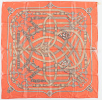 "Hermes 90cm Orange & Brown ""Cavalcadour,"" by Henri d'Origny Silk Mousseline Scarf Excellent to Pristine Co..."