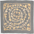 "Luxury Accessories:Accessories, Hermes 140cm Black & Gold ""Alliances du Monde,"" by Annie FaivreChiffon Silk Scarf. Excellent Condition. 56"" Width x5..."