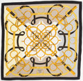 "Luxury Accessories:Accessories, Hermes 140cm Black & Gold ""Eperon d'Or,"" by Henri d'Origny Silk& Cashmere Scarf. Excellent Condition. 55"" Width x55""..."