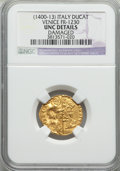 Italy:Venice, Italy: Venice. Michele Steno (1400-13) gold Ducat ND Unc Details NGC, damaged. ...