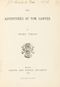 Books:Literature Pre-1900, Mark Twain [pseudonym of Samuel Langhorne Clemens]. TheAdventures of Tom Sawyer. London: Chatto and Windus, 187...