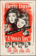"""Movie Posters:Drama, A Stolen Life (Warner Brothers, 1946). One Sheet (27"""" X 41""""). Drama.. ..."""