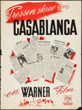 "Movie Posters:Academy Award Winners, Casablanca (Warner Brothers, 1946). First Post-War Release DanishPoster (24.5"" X 33.25""). Academy Award Winners.. ..."