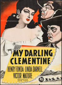 "My Darling Clementine (20th Century Fox, 1950). Danish Poster (24"" X 33.5""). Western"
