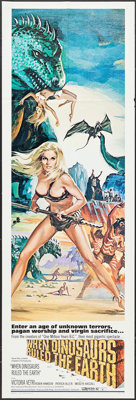 """When Dinosaurs Ruled the Earth (Warner Brothers, 1970). Door Panel (20"""" X 60""""). Fantasy"""