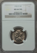 Jefferson Nickels, 1952-D 5C MS66 Five Full Steps NGC. PCGS Population (28/2). Numismedia Wsl. Price for problem free NGC/...