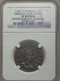 Colonials: , 1760 1/2P Hibernia-Voce Populi Halfpenny, P Before Face -- Environmental Damage -- NGC Details. VF. NGC Census: (1/21). PCG...
