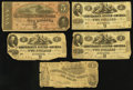 Confederate Notes:1862 Issues, T42 $2 1862, Three Examples;. T44 $1 1862;. T69 $5 1864.. ...(Total: 5 notes)