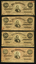 Confederate Notes:1864 Issues, T66 $50 1864, Four Examples.. ... (Total: 4 notes)