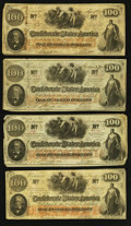 Confederate Notes:1862 Issues, T41 $100 1862, Four Examples.. ... (Total: 4 notes)