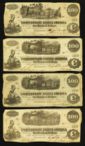 Confederate Notes:1862 Issues, T39 $100 1862;. T40 $100 1862, Three Examples.. ... (Total: 4notes)