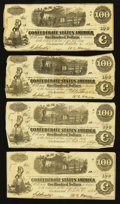 Confederate Notes:1862 Issues, T40 $100 1862, Four Examples.. ... (Total: 4 notes)
