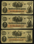 Confederate Notes:1862 Issues, T41 $100 1862, Three Examples.. ... (Total: 3 notes)