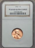 Proof Lincoln Cents, 1963 1C PR69 Red Ultra Cameo NGC. NGC Census: (32/0). PCGS Population (90/1). Numismedia Wsl. Price for problem free NGC/P...