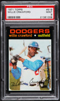 Baseball Cards:Singles (1970-Now), 1971 Topps Willie Crawford #519 PSA Mint 9 - Pop Three, None Higher....
