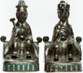 Books:Furniture & Accessories, [Bookends]. Pair of Matching Bookends Depicting Asian Elders.Unsigned, undated. ... (Total: 2 Items)