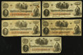 Confederate Notes:1862 Issues, T41 $100 1862 Group - Five Examples. ... (Total: 5 notes)