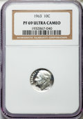 Proof Roosevelt Dimes: , 1963 10C PR69 Ultra Cameo NGC. NGC Census: (156/0). PCGS Population(197/0). Numismedia Wsl. Price for problem free NGC/PC...