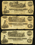 Confederate Notes:1862 Issues, T39 $100 1862, Three Examples.. ... (Total: 3 notes)