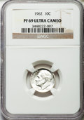 Proof Roosevelt Dimes: , 1962 10C PR69 Ultra Cameo NGC. NGC Census: (66/0). PCGS Population(62/0). Numismedia Wsl. Price for problem free NGC/PCGS...
