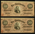Confederate Notes:1864 Issues, T66 $50 1864 PF-11 Cr. 500, Two Consecutive Examples.. ... (Total: 2 notes)