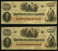 Confederate Notes:1862 Issues, T41 $100 1862 PF-12 Cr. 317A, Two Consecutive Examples.. ...(Total: 2 notes)