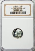 Proof Roosevelt Dimes: , 1961 10C PR69 Ultra Cameo NGC. NGC Census: (26/0). PCGS Population(58/4). Numismedia Wsl. Price for problem free NGC/PCGS...