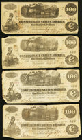 Confederate Notes:Group Lots, T39 $100 1862 PF-13 Cr. 294/296.. T40 $100 1862 PF-1 Cr 298/300 (3). ... (Total: 4 notes)