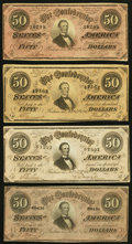 Confederate Notes:1864 Issues, T66 $50 1864 PF-2(2); PF-3; PF-11 Cr. 496(2); Cr. 497; Cr. 500.. ... (Total: 4 notes)