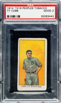 "Baseball Cards:Singles (Pre-1930), 1911-16 T216 Peoples - Kotton Tobacco Ty Cobb, ""Detroit Am."" -Standing PSA Good 2. ..."