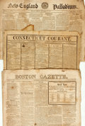 Books:Americana & American History, [War of 1812]. Group of Three Period Newspapers Featuring Detailsof the War of 1812. Includes: The Boston Gazette. Date...