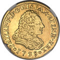 Mexico, Mexico: Philip V gold 2 Escudos 1738/7-Mo-MF XF Details (SurfaceHairlines) NGC,...
