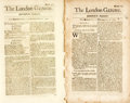 Books:Early Printing, [Early Printing]. [Newspapers]. Three Issues of The London Gazette. July 9, 1683. No. 1841 [and:] July 19th, 168...