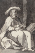 Fine Art - Work on Paper:Watercolor, French School (18th Century). Hermit Saint. Ink on paper. 9-1/2 x 6-1/2 inches (24.1 x 16.5 cm) (sheet). ...