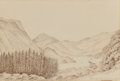 Fine Art - Work on Paper:Drawing, George Gilbert Scott (British, 1811-1878). Ulleswater fromGowbarrow Park, August 10, 1863. Pencil and ink on paper.6-5...