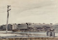 Fine Art - Work on Paper:Watercolor, Reginald Marsh (1898-1954). Locomotive, 1930. Watercolor andpencil on paper. 13-7/8 x 20 inches (35.2 x 50.8 cm) (sheet...