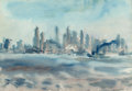 Fine Art - Work on Paper:Watercolor, Reginald Marsh (1898-1954). New York Skyline, 1936.Watercolor and pencil on paper. 14 x 19-3/4 inches (35.6 x 50.2 cm)...