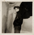 Music Memorabilia:Photos, Original Vintage Photograph of George Harrison Modeling the FirstBeatles Leather Jacket At The Bambi-Kino (Hamburg,1960)....