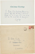 Music Memorabilia:Autographs and Signed Items, Beatles - George Harrison Signed 1964 John Lennon-Designed Christmas Card to Arthur Kelly and Family, With Original Mailing En...