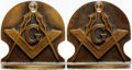 Books:Furniture & Accessories, [Bookends]. Pair of Matching Masonic Bookends. Unsigned, undated.... (Total: 2 Items)